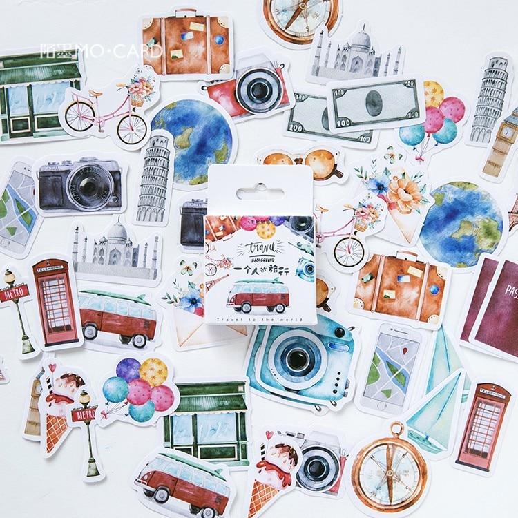 46-pz-pacco-viaggio-da-solo-mini-adesivo-di-carta-decorazione-album-fai-da-te-diario-scrapbooking-etichetta-adesiva-cancelleria-kawaii
