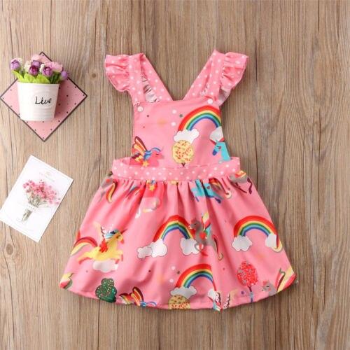 2018 nuevo vestido de verano de princesa chico niñas Rosa arco iris de unicornio sin mangas sin espalda fiesta tutú para certamen vestido ropa