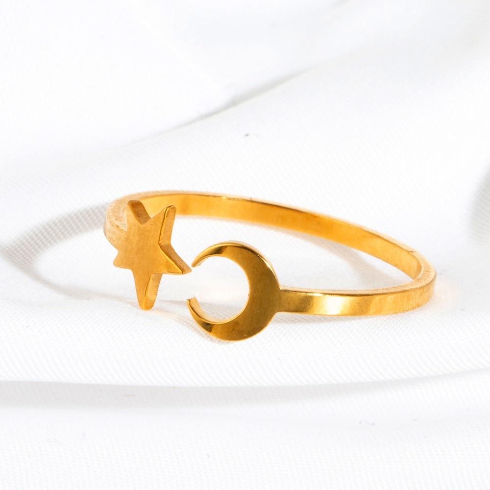 Кольца из нержавеющей стали для женщин и девушек, несколько стилей, Модные Золотые открытые кольца для девушек, аксессуары для ювелирных из...