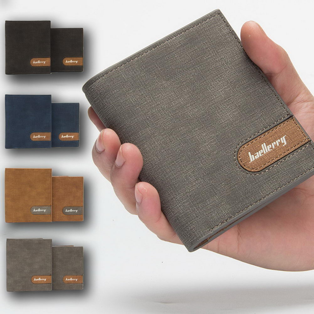 Cartera delgada de PU para hombre, cartera de crédito, cartera corta con ventana de identificación, mejor venta-WT