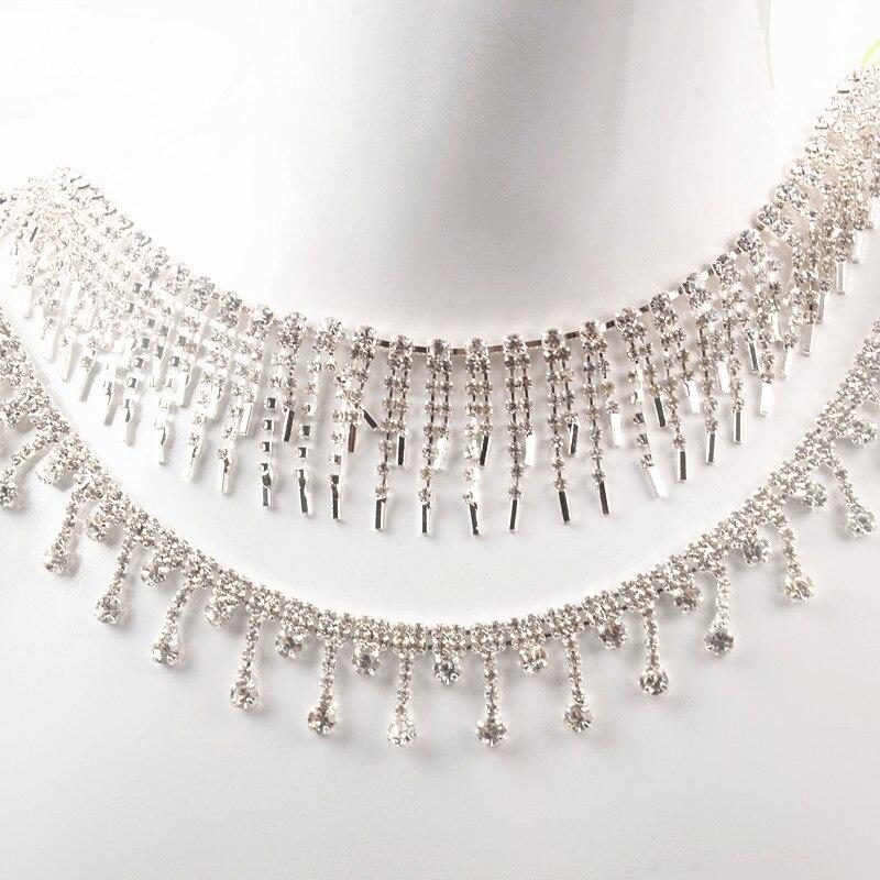 1 yarda hermoso Diamante de imitación cristal plateado borlas tono colgante cadena boda collar de decoración apliques para trajes costura con adornos