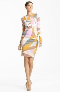 Top Fasion Real Freeshipping vestidos de fiesta vestido Sexy moda geometría impresión bombeo delgado tejido elástico de una pieza vestido