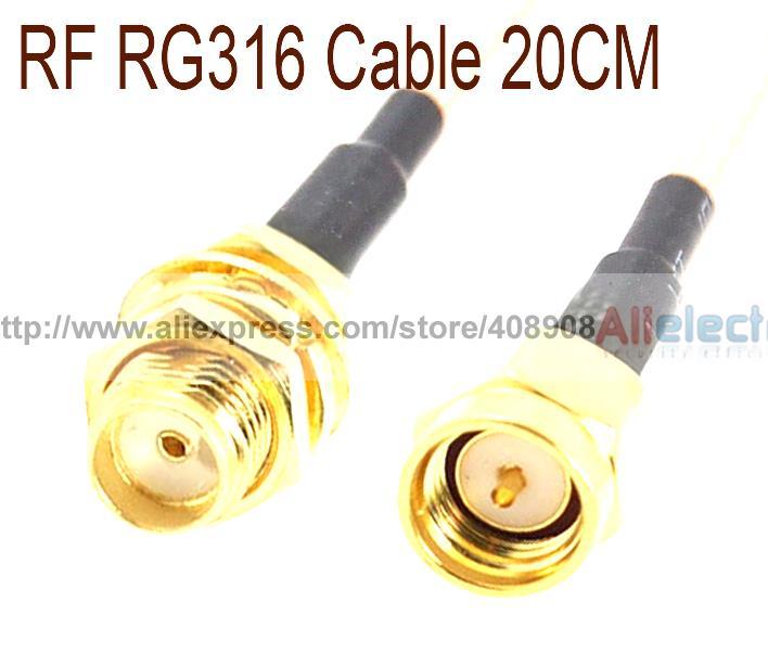 20 piezas SMA macho a SMA hembra tuerca de cierre RG316 Cable coaxial 20 cm