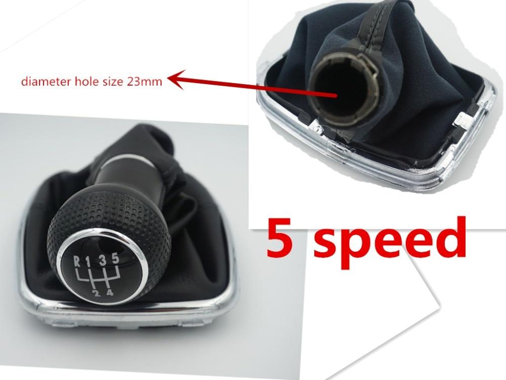 Perilla de palanca de cambios de coche con tapa negra de 5 velocidades de 23mm con marco cromado para VW Golf 4 1998 1999 2000 2001 2002 2003 2004 2005 2006 Bora