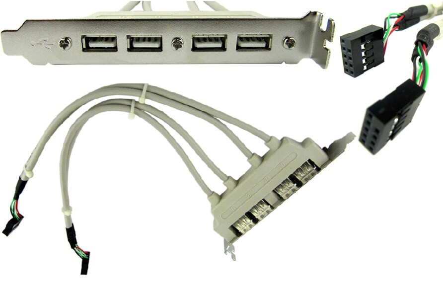Parafuso PCI 4 PORTAS USB 2.0 A Fêmea para Motherboard 9pin header cabo com suporte