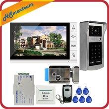 Новый 9-дюймовый цветной экран видео телефон двери видеодомофон комплект + сенсорный открытый RFID код клавиатуры номер дверной звонок камера 1 монитор