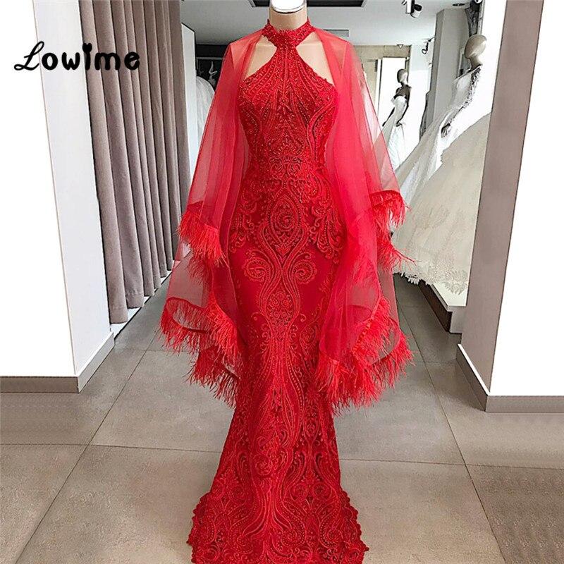 Vestidos De Noche De encaje rojo De alta costura con pluma y cuentas vestido De fiesta De desfile árabe 2019 encaje De sirena islámico Aibye túnica musulmana De noche