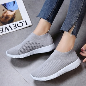 2019 Spring Women Casual Flying weaving Sneakers Stretch Flat Platform Slip On Shoes Female Leisure Footwear Plus Size