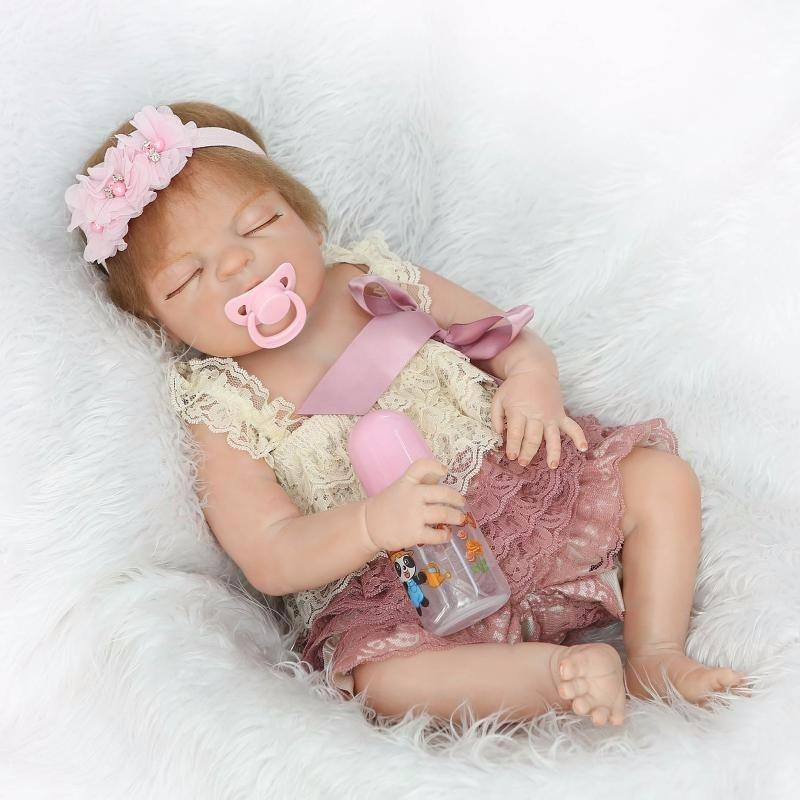 Bonito Cheio de Silicone Bonecas Reborn bebê Recém-nascido para Meninos Meninas 57 cm realista bebê reborn bonecas banhar boneca aniversário presentes