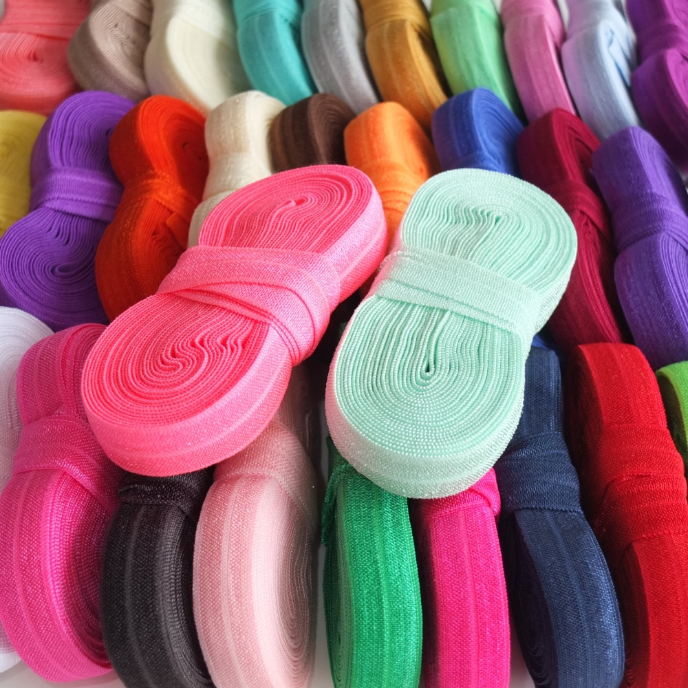 5 Yards Per Bundle Elastic bands 5/8'' Fold Over Elastic Ribbon FOE Sewing Elastic Accessories Hair bow Elastic Supply
