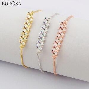 BOROSA 10/20PCS Wholesale Bar Metal CZ Micro Paved Connector 10inch Adjustable Bracelet Rainbow Charm Bracelet Jewelry WX1145-B