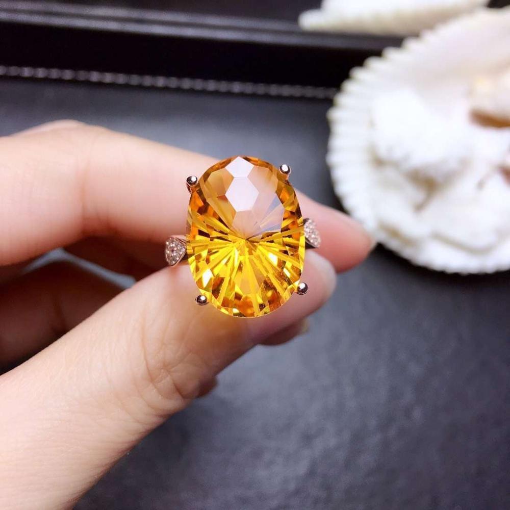Кольцо из стерлингового серебра 925 пробы, модное желтое кольцо из натурального камня, яркие цвета, подарок на день рождения