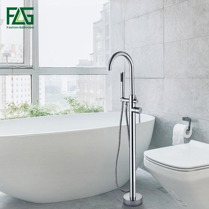 FLG كروم حوض الاستحمام الطابق حامل صنبور خلاط وحيد مقبض صنبور حوض خلاط 360 دوران صنبور مع ABS هانددش حمام خلاط