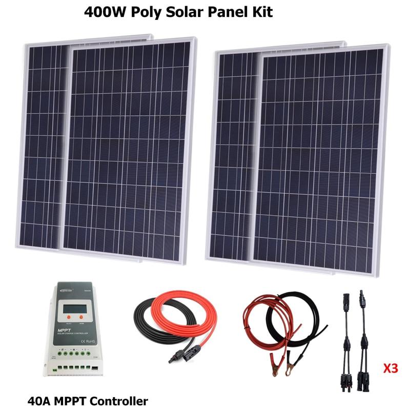 400w لوحة طاقة شمسية ألواح شمسية متعدد الكريستالات/ البلورات نظام كيت w/40A MPPT الشمسية جهاز التحكم في الشحن ، الشمسية/بطارية كابل ، Y موصل