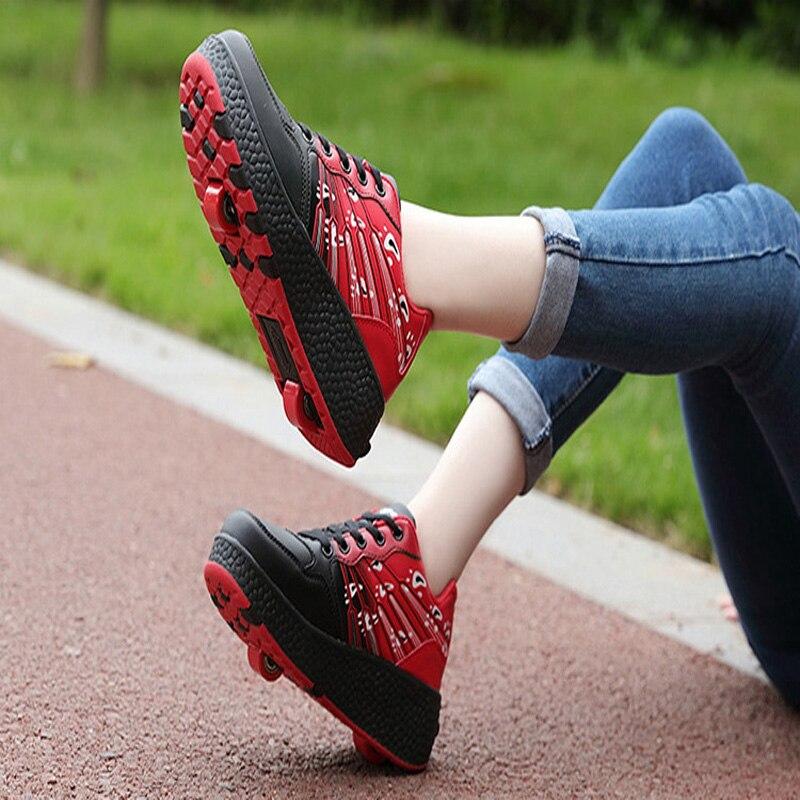Nuevos zapatos de patinaje automático para niños, Zapatillas de deporte niños con destellos, Zapatillas de deporte niños con una o dos ruedas