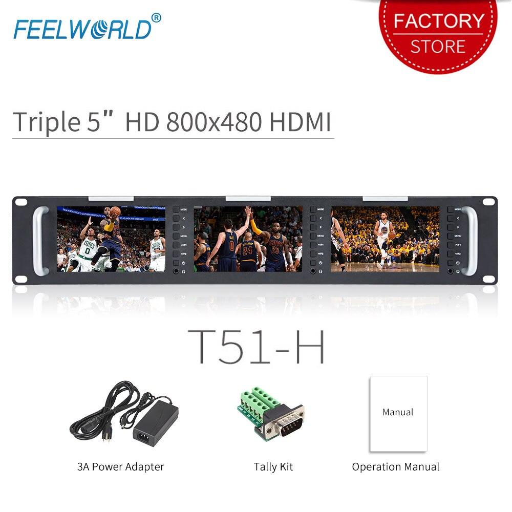 Feelworld T51-H الثلاثي 5 بوصة 2RU Leightweight HDMI رصد البث LCD TFT 800x400 HDMI AV رف جبل لمراقبة Broadcastin