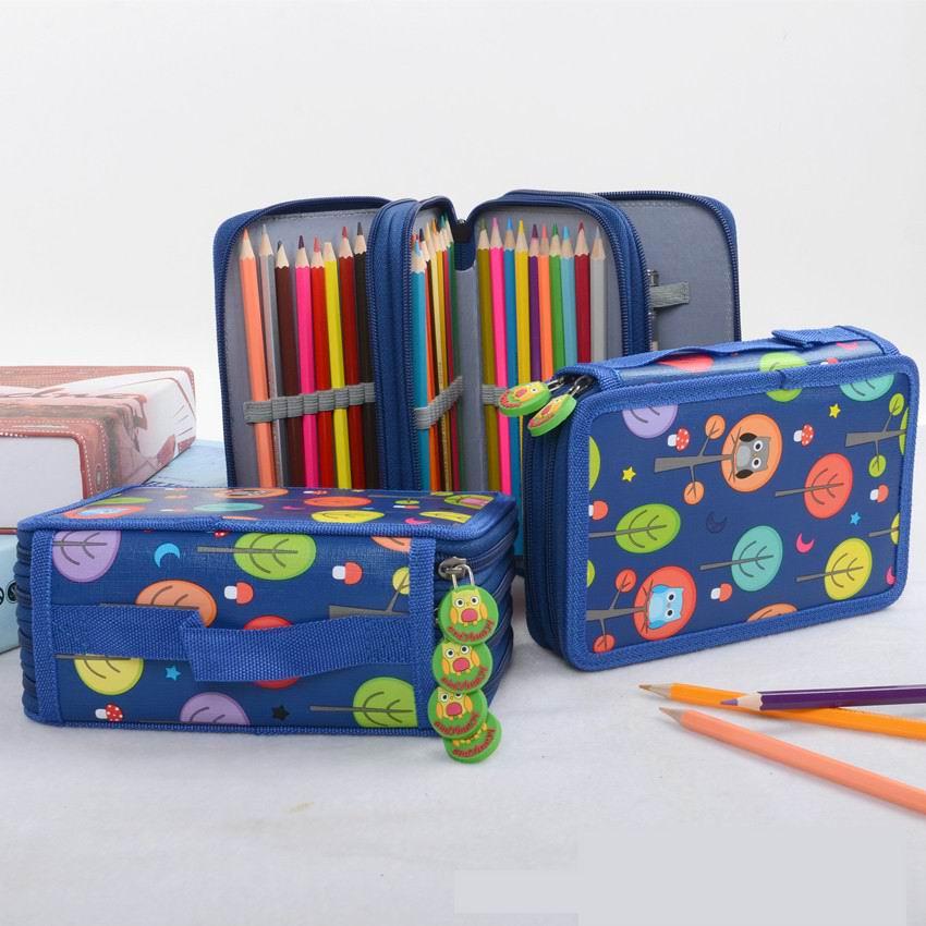 Venta al por mayor 30 piezas lápiz caso Kawaii dibujos animados bolsa 72 agujeros pena abandonada 4 capas bolsa grande para niñas Niño papelería