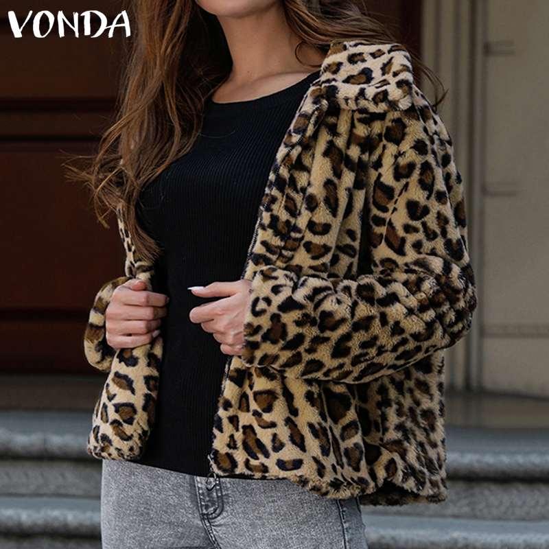 VONDA Women Leopard Printed Overwear Winter Faux Fur Jackets Womens Coats 2020 Autumn Fashion Office Warm Ladies Outerwear S-5XL