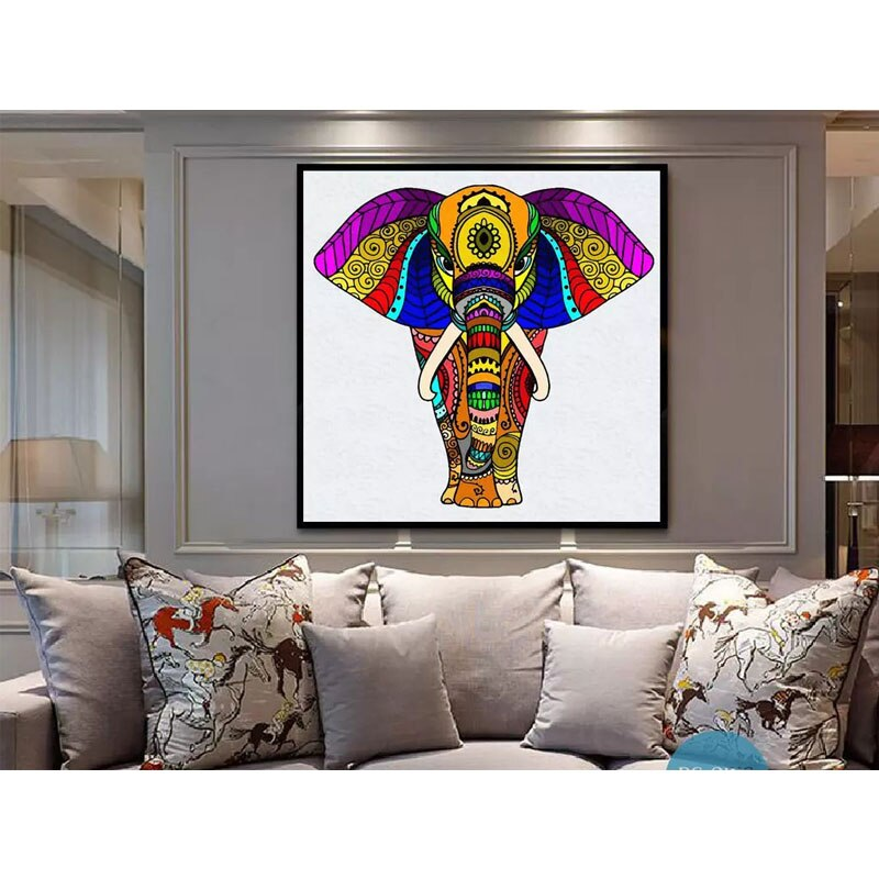Colorful elephant Diamond Embroidery full square drill 5d diy diamond painting cros-stitch kit,Home Decor Y0998