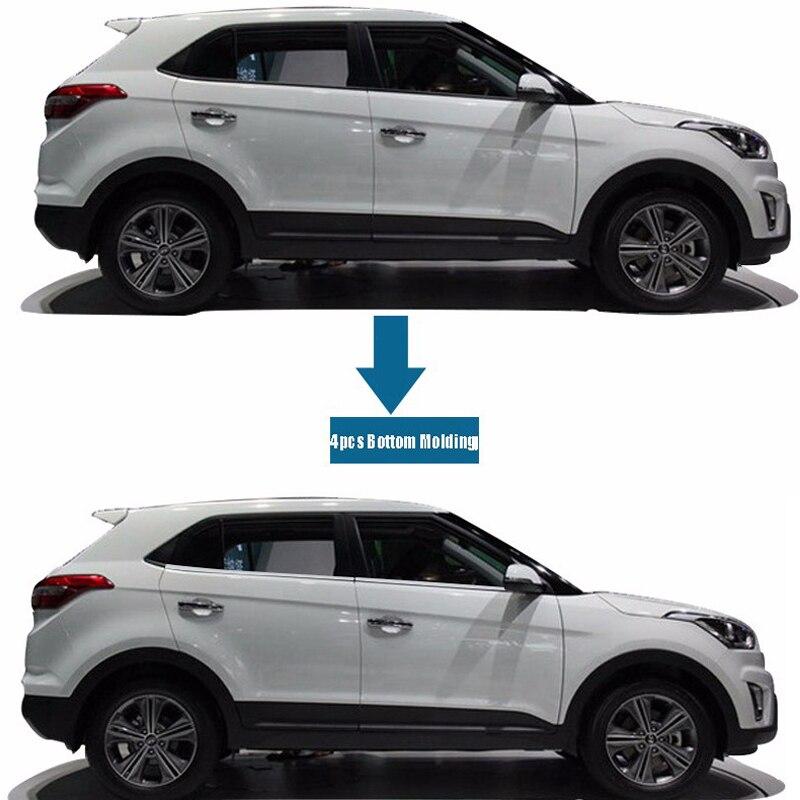 Moldura de 4 Uds para MARCO DE VENTANA DE puerta inferior de acero inoxidable para Hyundai IX25 2014-2016