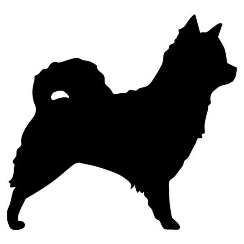 Pegatinas de coche de Chihuahua de pelo largo de 10,2x9,5 CM con forma de perro, pegatinas bonitas, pegatinas decorativas de estilismo para cola de coche, S1-0235 negro/plateado