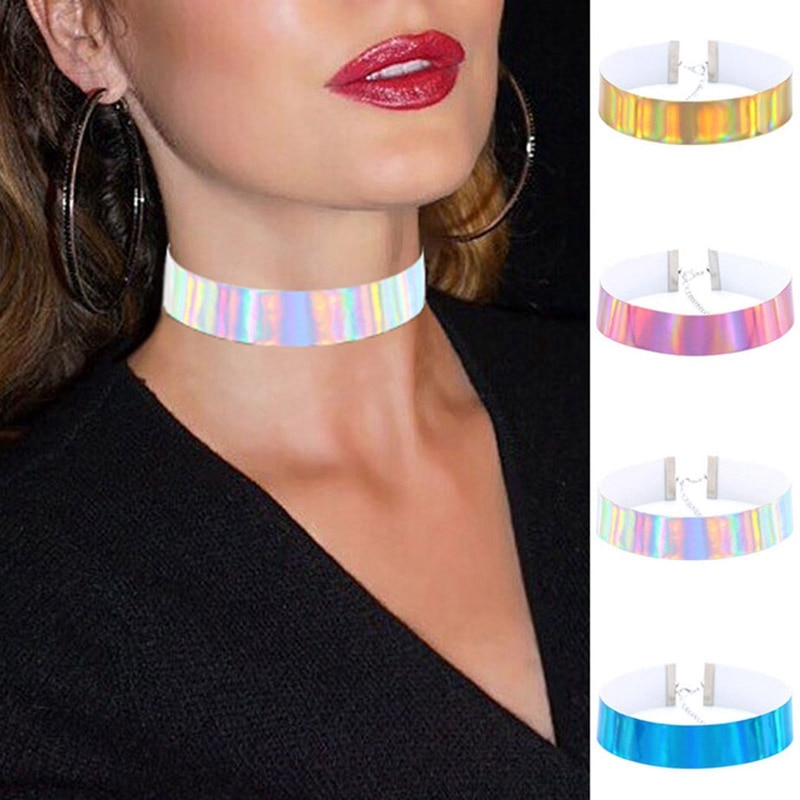 Gargantilha holográfica 4 pçs/set, moda, colar de gargantilha holográfica, couro pu, artesanal, laser, chocker, arco-íris, gótico, feminino, chocker, colar