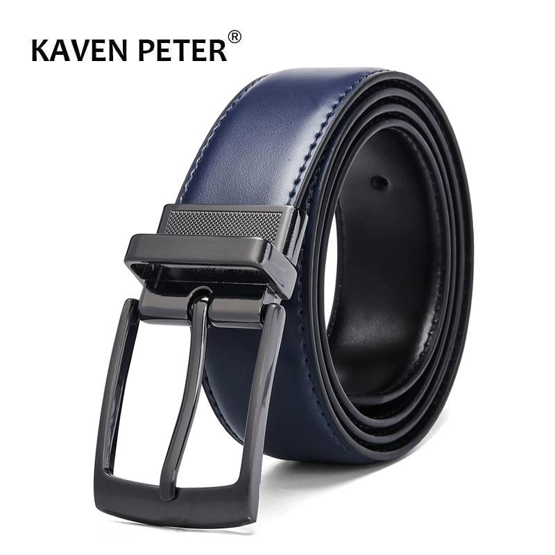 Luxury Fashion Male Reversible Leather Belt Men Business Trouser Belt Genuine Men Leather Belts For