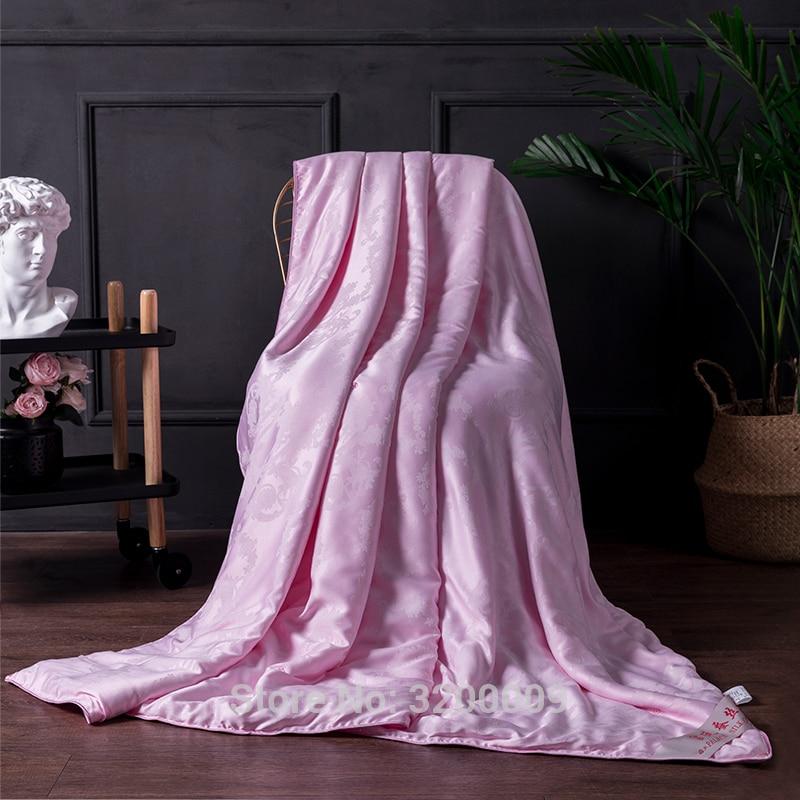 Nova Rosa Seda Amoreira Colcha Cobertor Quatro Estações Universal Processo de Costura Guarnições de Cama Tamanho King Size Cama de Casal