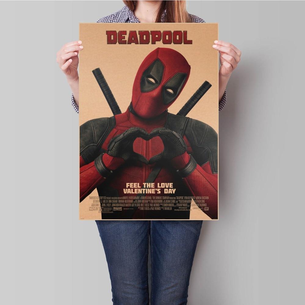 Deadpool Movie Poster Vintage bar cafe Decoration Retro Kraft Paper Poster Antique Wall Sticker for bar cafe 45.5x31.5cm