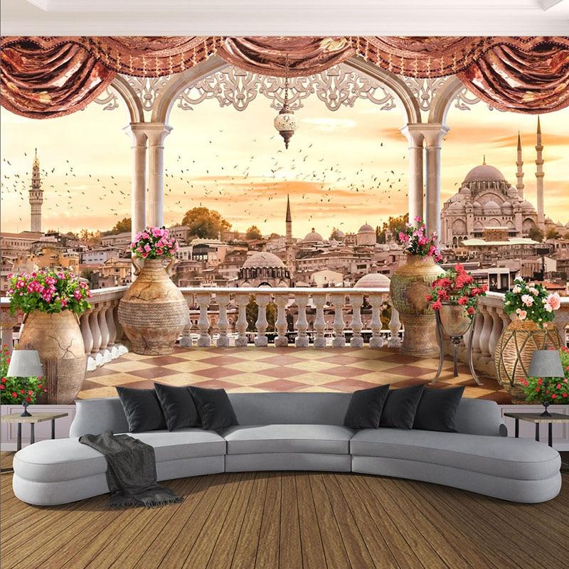 Пользовательские Настенные обои современный балкон вид на город настенная живопись гостиная спальня ресторан 3D настенные фрески Декор Papier Peint
