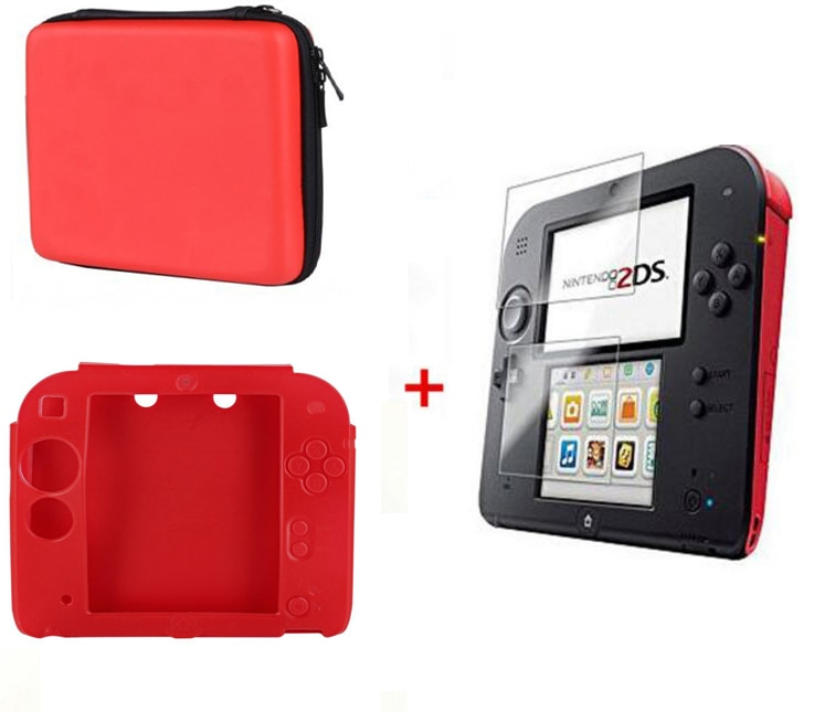 2DS EVA Protector duro estuche de viaje y transporte funda bolsa transparente película táctil Protector de pantalla funda de silicona para Nintendo 2DS Nintend