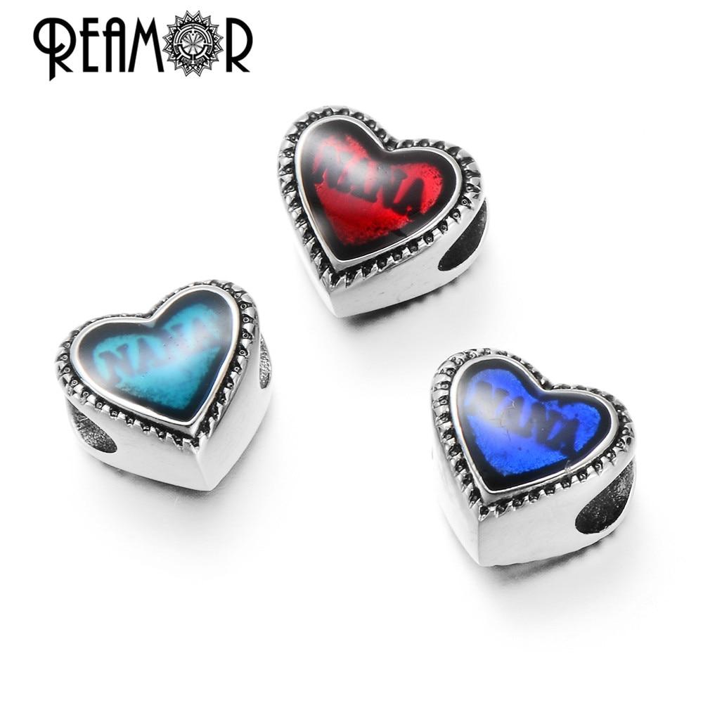 Reamor On Sale Alta Polido Aço Inoxidável 316l Grânulos de Coração Vermelho/Azul Nana Texto Encantos Pulseira de Pérolas Para As Mulheres fazer jóias
