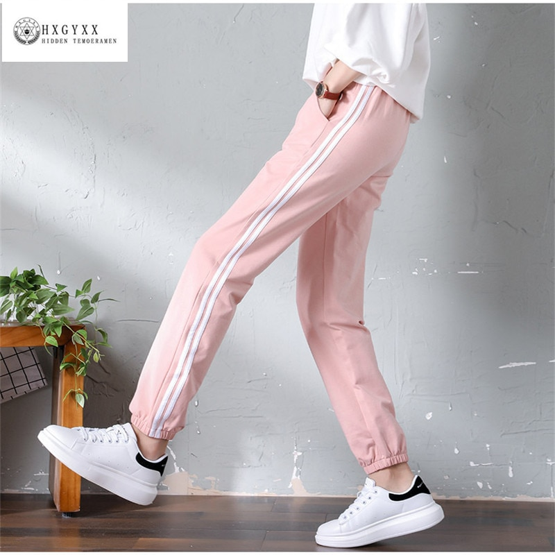 Pantalones Harem para mujer, a la moda pantalones de chándal con cintura...