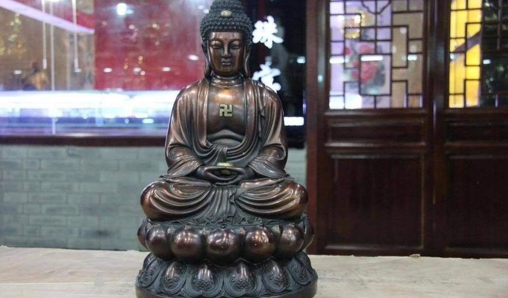 16 estatua de Buda tatagata Amitabha Sakyamuni de bronce de cobre rojo Tíbet