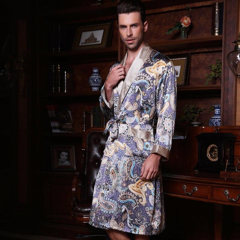 2019 novo masculino seda cetim manga longa quimono sleepwear 100% seda de alta qualidade dos homens banho roupão vestido ye2519