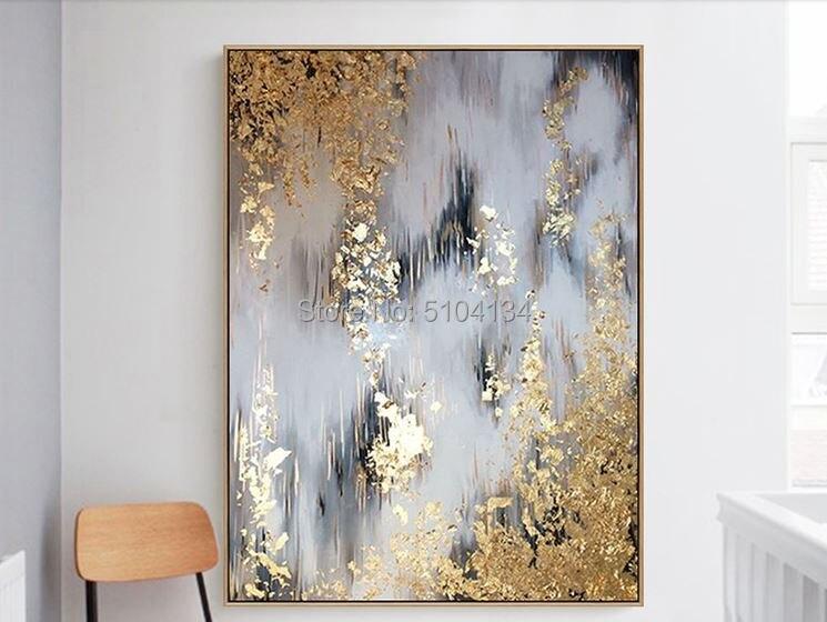 Excelente artista pintado a mano de alta calidad abstracto dorado y verde pintura al óleo sobre lienzo de lujo pintura de pared de lámina de oro un
