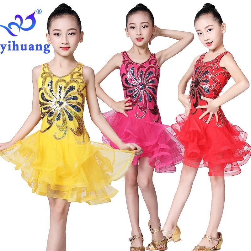 Latin Dance Dress Girls Kids Salsa Ballroom Dancewear Dresses Competition for Children Stage Perform