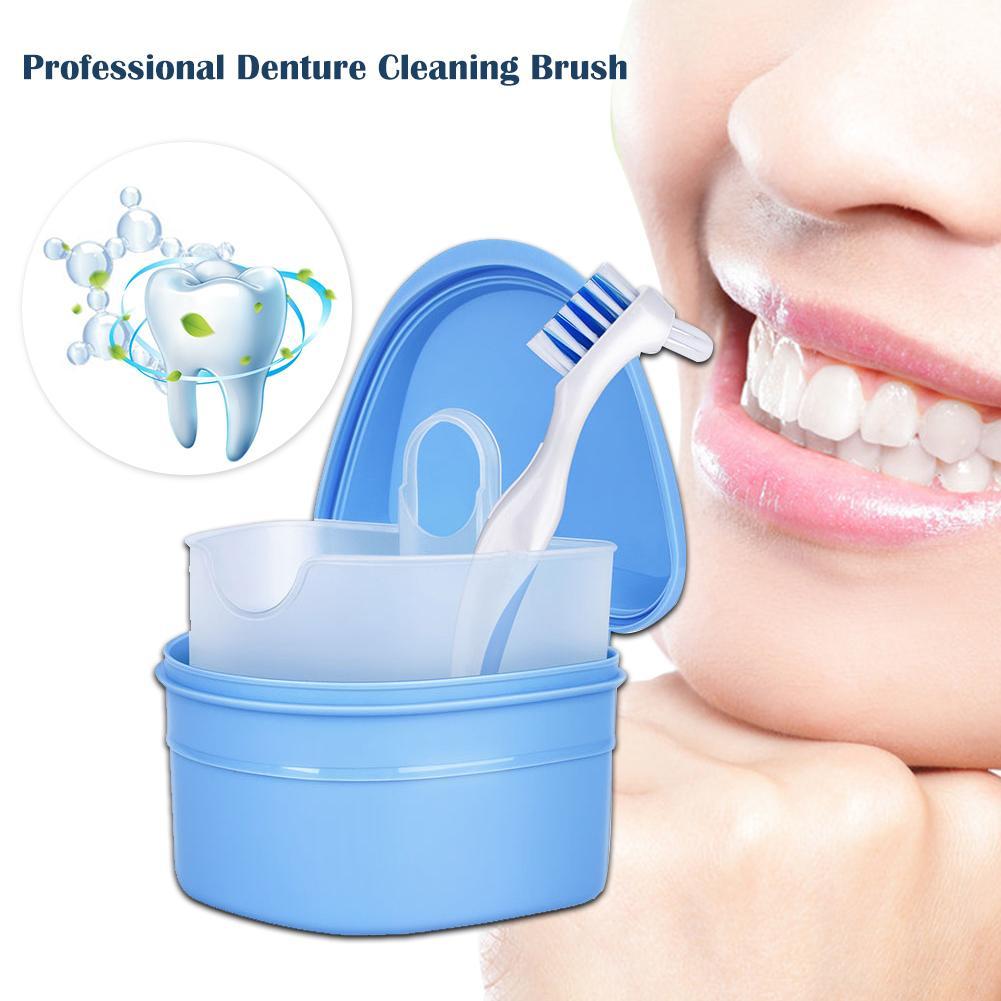 Cepillo para dentadura con caja para dentadura, almacenamiento de limpieza, Corrector de toma de dientes, limpieza, cuidado bucal para dentaduras seguras para uso en viajes