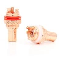 8pcs high quality cmc red copper plated rca socket audio rca jack rca terminals amplifier copper rca socket plug