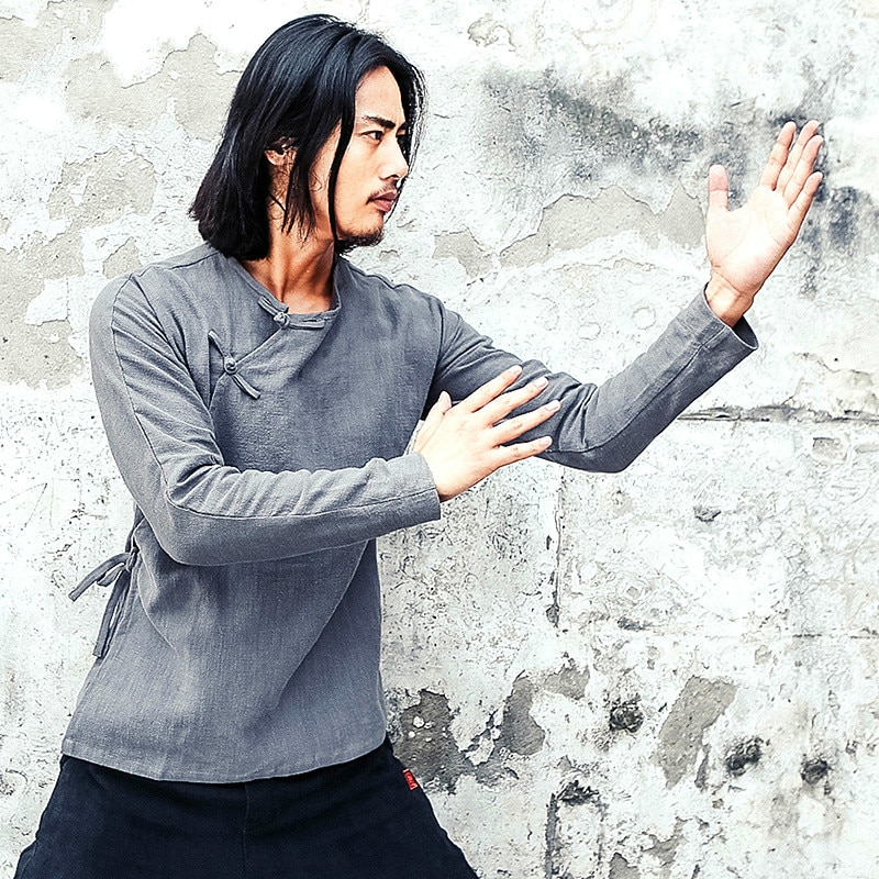 Männer Chinesische Traditionelle Tang Anzug Jacke Wu Shu Tai Chi Kleidung Shaolin Kung Fu Wing Chun Shirt Lange Ärmeln Übungen kostüm