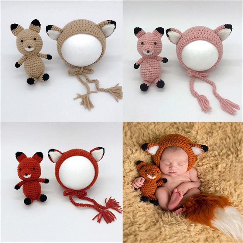 Novo infantil recém-nascido fotografia adereços bonito raposa chapéu do bebê crochê acessórios do bebê artesanal crianças chapéu menino meninas animal outfits foto