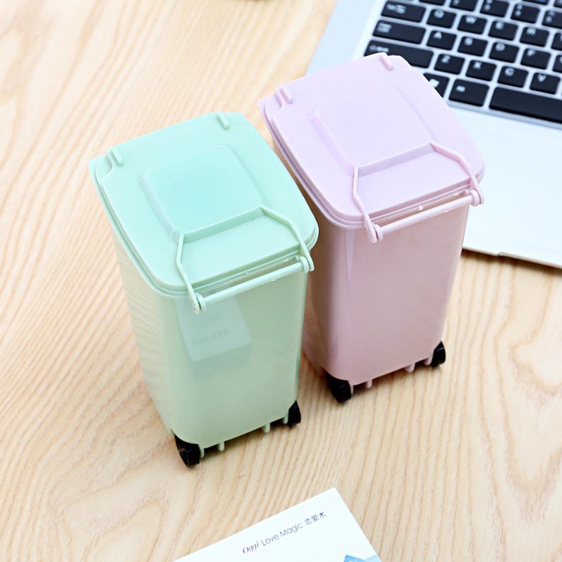 1 Pc Mini Portátil para Lixo Lixo Lixo Pode Escritório Acessórios de Decoração Criativa Multi-funcional de Armazenamento De Limpeza De Resíduos De Lixo