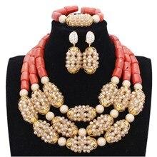 Dudo ensemble glamour collier or et perles de corail originales ensemble de bijoux ensemble de bijoux de mariage africain pour les femmes de mariée livraison gratuite