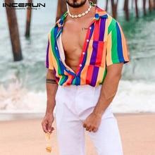 INCERUN, moda de verano, camisa a rayas colorida para hombres, Tops casuales de solapa de manga corta, ropa informal suelta, camisa de playa Hip-hop para hombres 2020