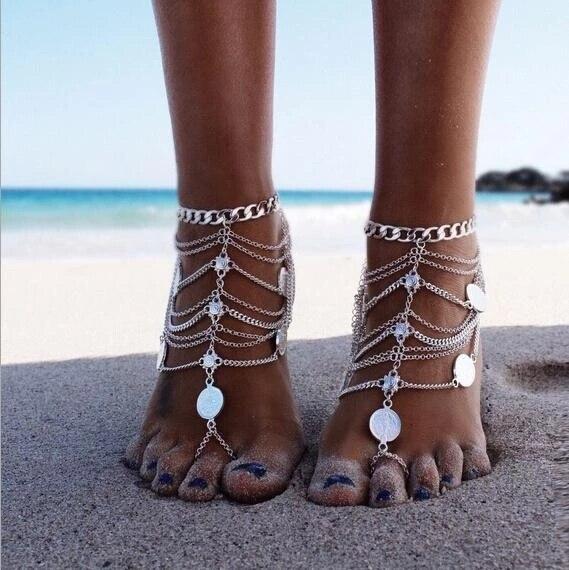 Mode Sexy Antike Farbe Fußkettchen Kette Barfuß sandale Münze Quaste Farbe Strand Schmuck für frauen geschenk Indische Bollywood