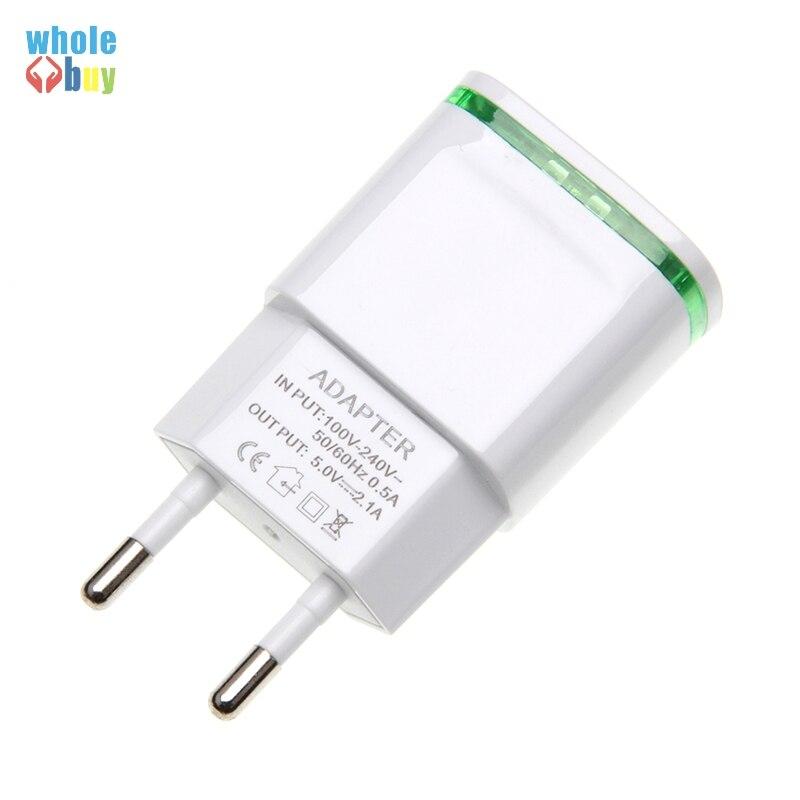 200 uds/lot5V 2A Enchufe europeo luz LED 2 adaptador USB cargador de pared para teléfono móvil dispositivo Micro datos carga para iPhone 5 6 iPad Samsung
