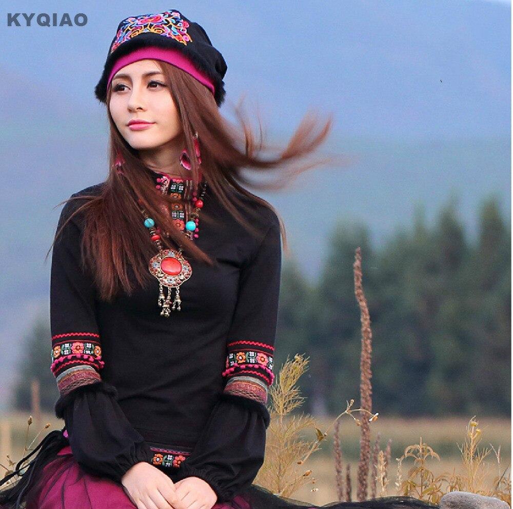 Kyqiao estilo japonês mori meninas gótico do vintage preto gola alta lanterna manga pullovers outono inverno primavera étnica boho camisa