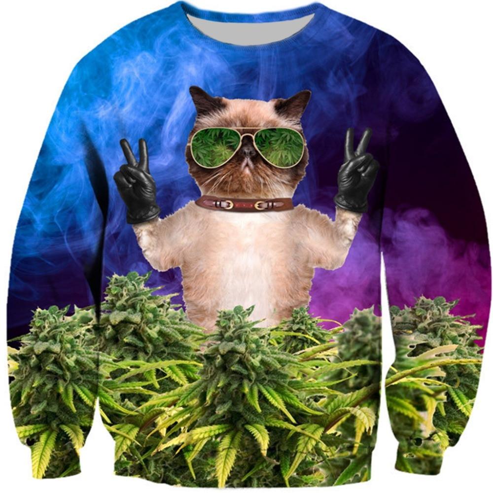 PLstar Cosmos Glass Weed Cat Men/Women 3d Sweatshirt Fire Cat Destroy City print harajuku casual Pullover size S-5XL