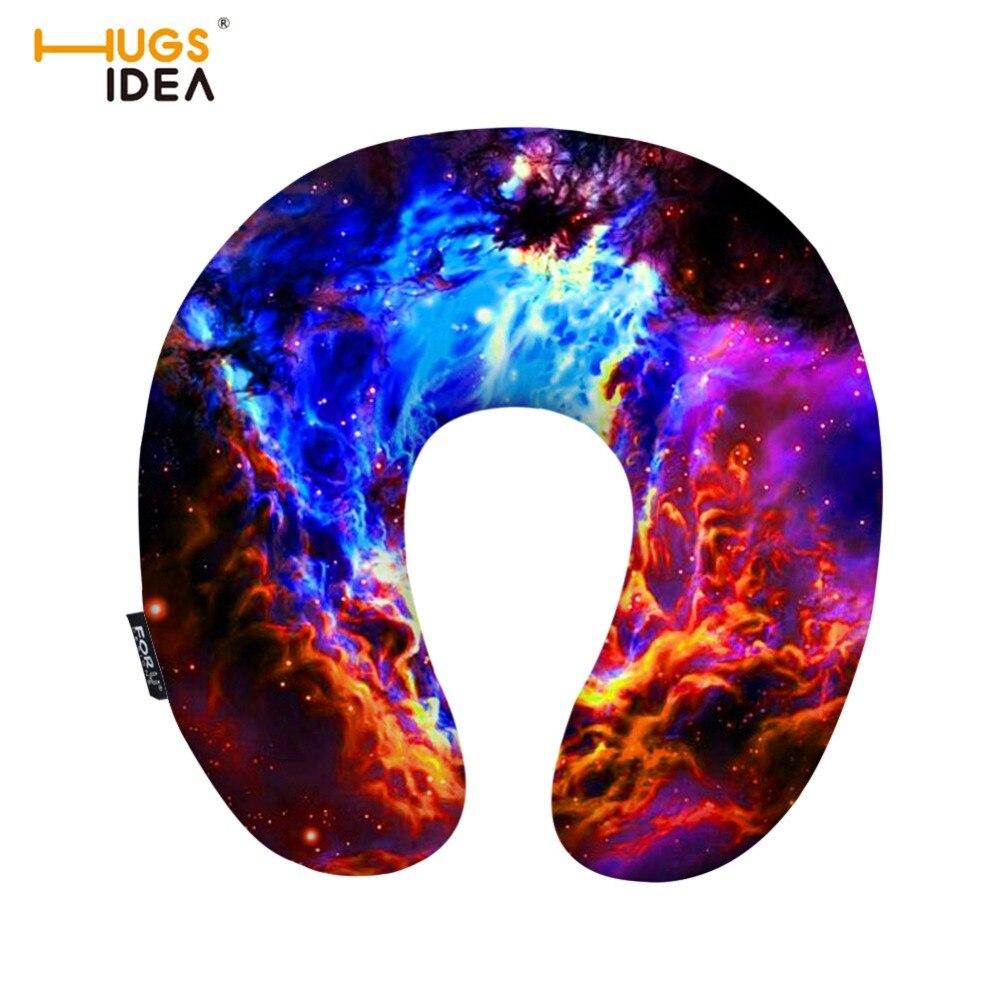 Almohada de viaje hugsiera 3D con forma de galaxia espacio en U, cojín inflable blando acogedor para el hogar, coche, oficina, soporte para el cuello, cojines para el reposacabezas