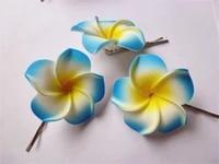10 blue color foam hawaiian plumeria flower frangipani flower bridal hair clip 4 5cm f 4
